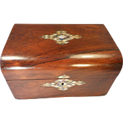 Antique Rosewood Jewellery Box , Abalone & Mother of Pearl inlay