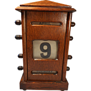 Antique Oak Desktop Perpetual Calendar