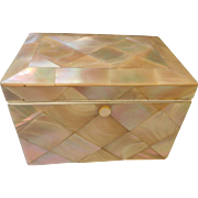 Antique French Mother of Pearl Box , Tea Caddy