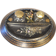 Antique Papier Mache , Mother of Pearl Inkwell Stand