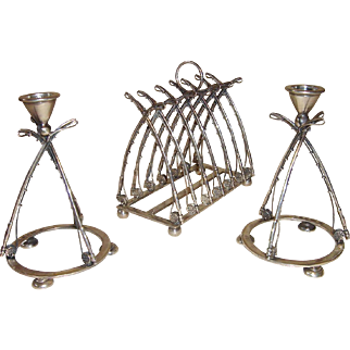 English Sterling Silver Novelty Fishing Rod Motif Toast Rack and Candlesticks
