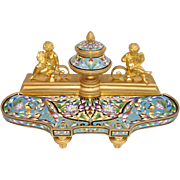 Late 19th C. French Gilt-Bronze and Champleve Enamel Inkstand
