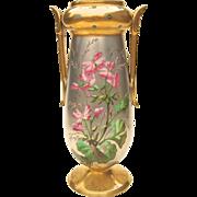 Late 19th C. Paris Porcelain Platinum Ground Vase with Enameled Flowers
