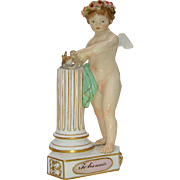 Late 19th C. Meissen Allegorical Cherub, 'Te Les Unis'