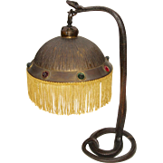 Exotic Austrian Bronze Snake Lamp with Jeweled Shade c. 1910