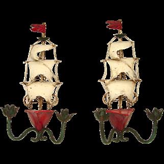 Unusual Pair of Mid-20th C. Italian Tole Sailing Ship Sconces