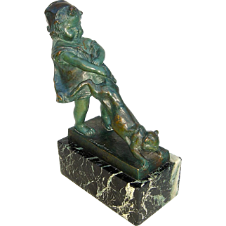 Early 20th C. Bronze of Girl Holding Cat's Tail by Juan Clara