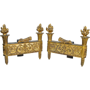 Pair of Late 19th c. French Empire-Style Bronze Ormolu Chenets