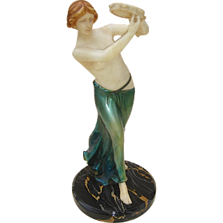 Continental Art Deco Alabaster and Iridized Bronze Tambourine Girl c. 1925