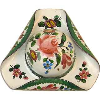 French Enamel on Copper Hat-Form Snuff/Patch Box c. 1900
