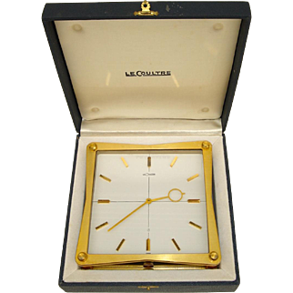Rare LeCoultre Mid-Century Partners Clock in Original Box