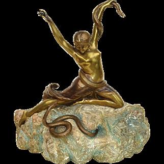 Continental Art Deco Bronze Snake Dancer on Alabaster Base c. 1925