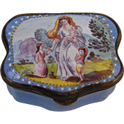 Late 18th c. English Enamel Snuff Box : Woman with Children