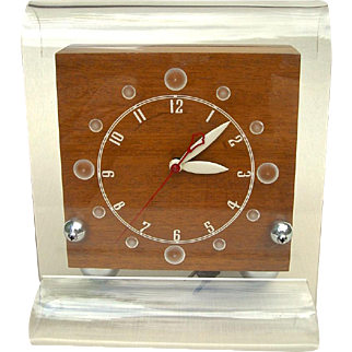 Mid-20th C. Lackner Neon Glo Tabletop Clock, 'Scroll-Blue'
