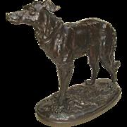 Beautifully Executed Bronze Sculpture of Standing Deerhound by Marcel Debut c. 1900