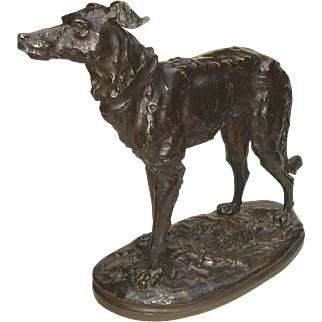 Beautifully Executed Bronze Sculpture of Standing Deerhound by Marcel Debut c. 1900