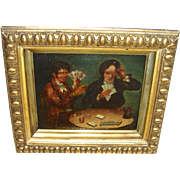Mid/Late 19th C. Continental Oil Painting of Gamblers/Card Players