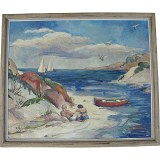 Mid 20th C. Oil Painting by Florida Artist Charlotte M. Kellner
