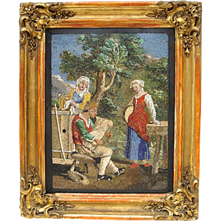 19th C. Italian Micromosaic Plaque Featuring Three Figures in a Landscape