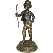 Very Rare Late 19th c. Continental Bronze of an African-American Minstrel