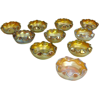 Set of 10 Early 20th c. Original Tiffany Glass Salts