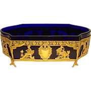Early 20th C. Empire Style French Cobalt Crystal Centerpiece with Gilt Bronze Openwork Frame