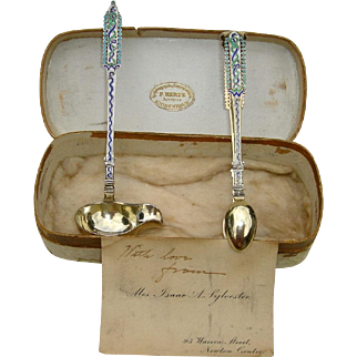 Danish Sterling and Enamel Sugar Tongs and Cream Ladle made by Peter Hertz in 1902