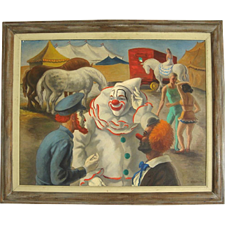 Circus Scene Oil Painting by Midwestern Artist Edmund Brucker c. 1940's