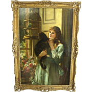English Interior Painting of a Pretty Girl Holding her Cat by John Haynes Williams Dated 1894