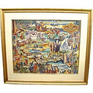 Large 1940's Gouache Painting/Mural Study Featuring a Collage of the American Scene by Lumen Winter