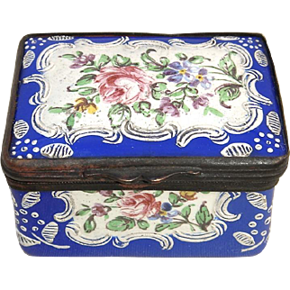 English Battersea/Bilston Enamel Snuff/Patch Box Circa 1780 - 1810