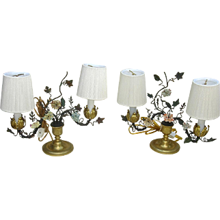 Pair of Early 20th C. French Bronze and Tole Table Lamps with Porcelain Flowers