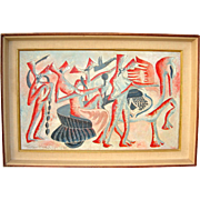 Mid-Century Modernist Semi-Abstract Painting by Frederic Karoly Dated 1947