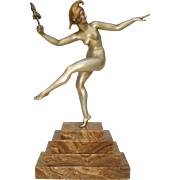 French Art Deco Silvered-Bronze of a Nude Harlequin by Marcel-Andre Bouraine c. 1925
