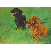 Mid 20th C. Oil Painting of Two Dachshunds in a Meadow by Kay Nixon