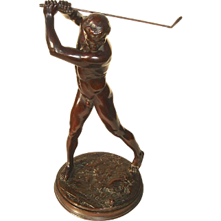 Beautifully Modeled Nude Male Golfer Bronze Sculpture by A.A. Weinman Dated 1901