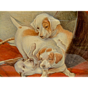 Watercolor Painting of Three Playful Foxhound Puppies amongst Hunt Attire C. 1930's - 1940's