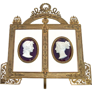Pair of Bisque Reliefs in Fancy French Empire-Style Frame c. 1890