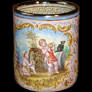Nice Quality Late 19th c. Austrian Renaissance Revival Enamel Liquor Cup