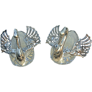 Pair of Mid-20th c. Crystal and Sterling Silver Table Swans