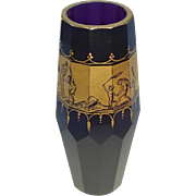 Art Deco Cut and Gilt-Decorated Moser Glass Vase c. 1925