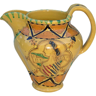 Archaic Majolica Pitcher by Ilario Ciaurro from Orvieto, Italy c. 1930