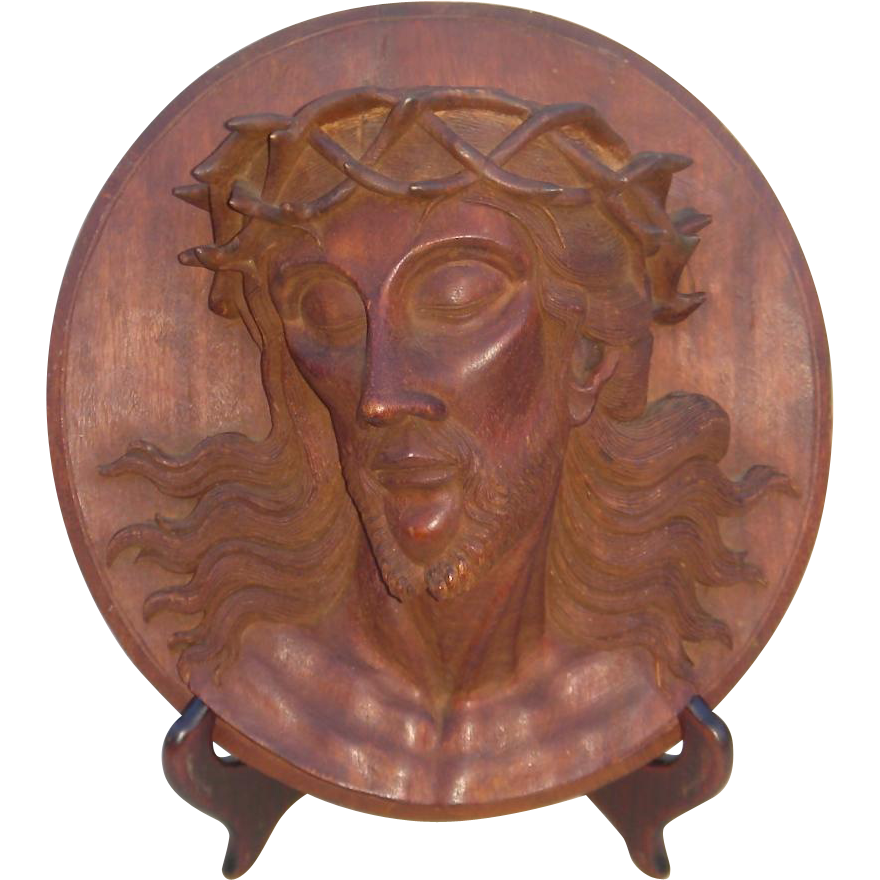 Early th c wooden relief carved portrait of jesus with