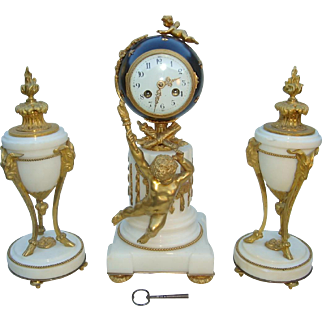 3 Pc. French Louis XV Style Bronze Ormalu and Marble Clock and Side Urns c. 1890 Signed, 'Bernoux Paris'