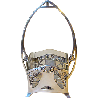 German Jugendstil Silver Basket with Glass Insert c. 1900