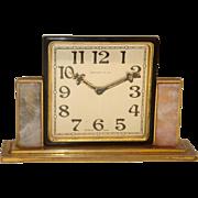 Tiffany and Co. Bronze Art Deco Table Clock with Quartz Panels c. 1925