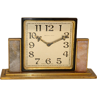 Tiffany and Co. Bronze Art Deco Table Clock with Quartz Panels c. 1925