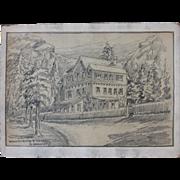 1910's Original Art Nouveau Charcoal Drawing of Winnenburg by Franz Brantzky