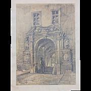 1910's Original Art Nouveau Charcoal Drawing of Castle Corvey by Franz Brantzky