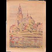 1920's Original Pastel Drawing of Lüchtringen in Germany by Franz Brantzky